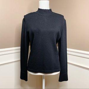 St John blk Santana mock turtleneck sweater P0529